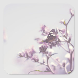 Butterfly on Blossom Branch Square Sticker