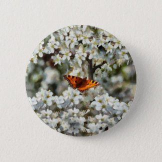 Butterfly on Blossom Button