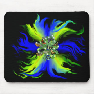 Butterfly on blue green Rainbow with star, drop Mouse Pads
