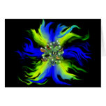 Butterfly on blue green Rainbow with stars, drops Karten