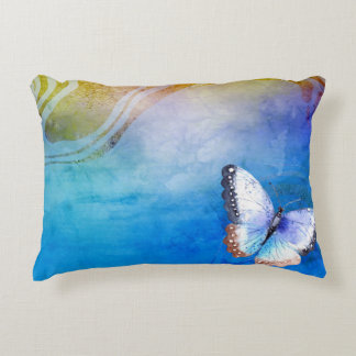 Butterfly on Blue Watercolor Accent Pillow