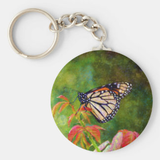Butterfly on Branch Basic Round Button Keychain