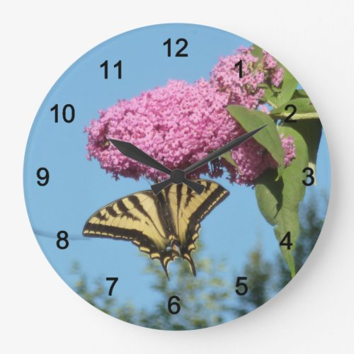 Butterfly on Butterfly Bush Large Clock