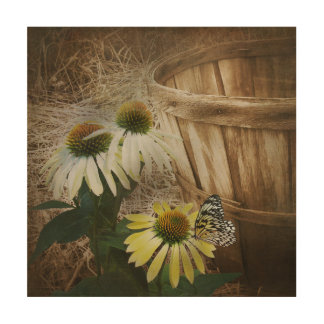 Butterfly on Cone Flower Wood Wall Decor