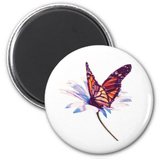 Butterfly On Daisy 2 Inch Round Magnet