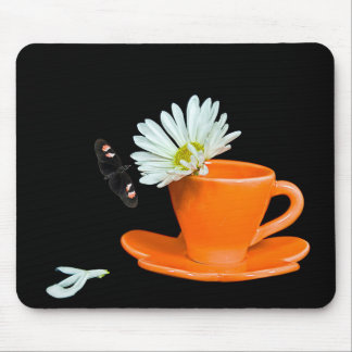 Butterfly on Daisy in Tea Cup Mouse Pad