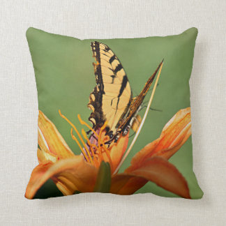 Butterfly on day lily photo throw pillow