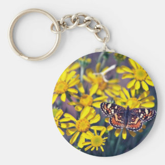 Butterfly On Desert Flora flowers Key Chains