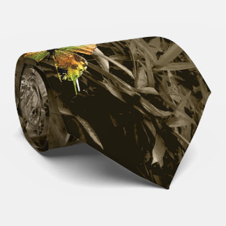 Butterfly on Dry Leaves Neck Tie