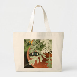 Butterfly on Dusty Miller Large Tote Bag