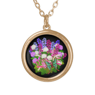 Butterfly on English Garden Flowers Necklace
