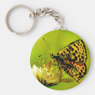 Butterfly on Flower Basic Round Button Keychain
