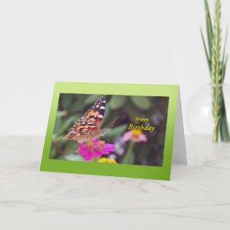 Butterfly On Flower Birthday Card