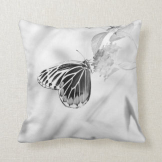 Butterfly on flower - Black and White Throw Pillow