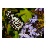 Hand shaped Butterfly on flower blank birthday card