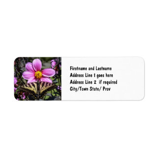 Butterfly on Flower Blossom Label