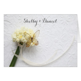 Butterfly on flower bouquet wedding card
