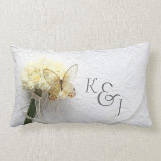 Butterfly on flower bouquet wedding pillow