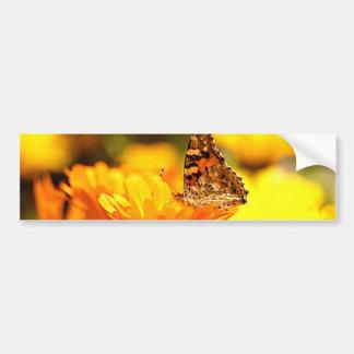 Butterfly on flower car bumper sticker