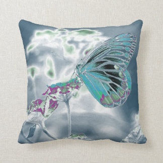 Butterfly on flower - Negative Photo 2 Throw Pillow