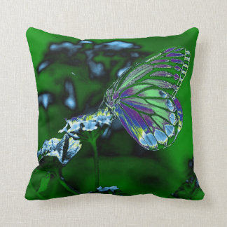 Butterfly on flower - Negative Photo Throw Pillow