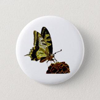 Butterfly on Flower neon Pinback Button