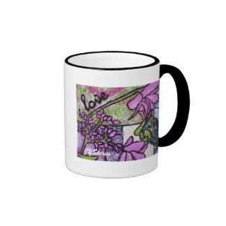 Butterfly On Flower Ringer Coffee Mug