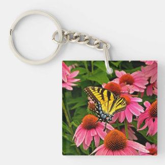 Butterfly on Flower v21 Keychain