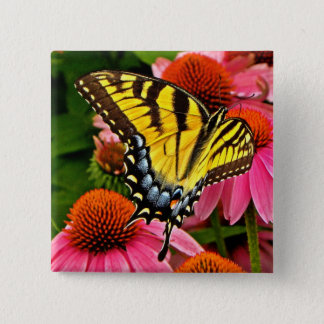 Butterfly on Flower v22 Button