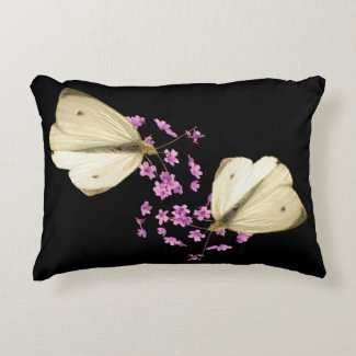 Butterfly on Flowers Accent Pillow