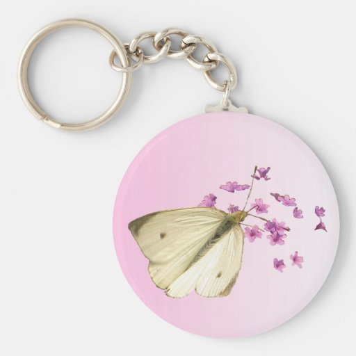 Butterfly on Flowers Basic Round Button Keychain