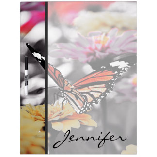 Butterfly on Flowers Dry-Erase Board