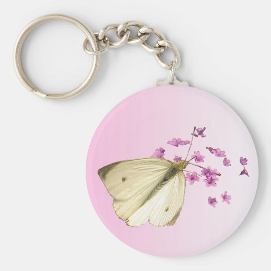 Butterfly on Flowers Keychain