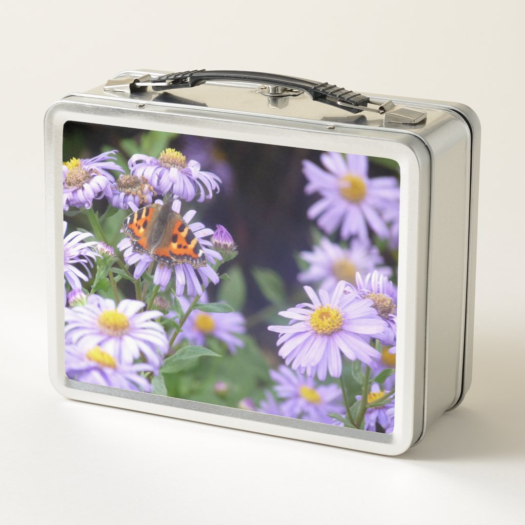 Butterfly On Flowers Metal Lunch Box