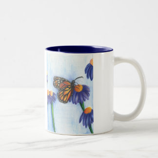 Butterfly on Flowers Mug 11oz (White/Navy)