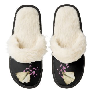 Butterfly on Flowers Pair of Fuzzy Slippers