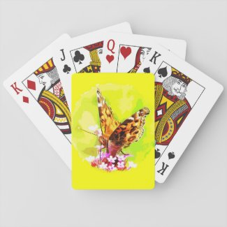 Butterfly on Flowers Playing Cards
