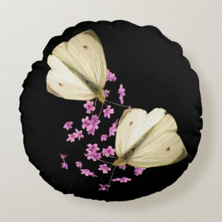 Butterfly on Flowers Round Throw Pillow