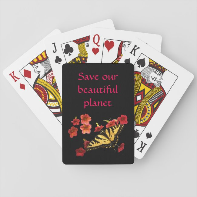 Butterfly on Flowers Save Our Planet Playing Cards