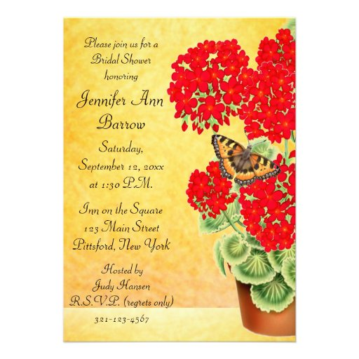 Butterfly on Geranium Flowers Bridal Shower Invite