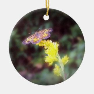 Butterfly on Goldenrod Flowers Ceramic Ornament