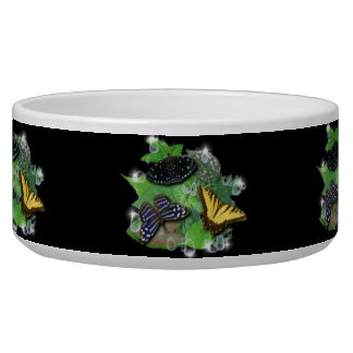 Butterfly on green leaf and Raindrops Pet Food Bowls