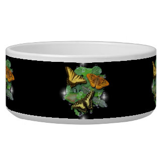 Butterfly on green leaf and Raindrops Pet Water Bowls