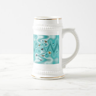 Butterfly on green Silk with Pearls Beer Stein