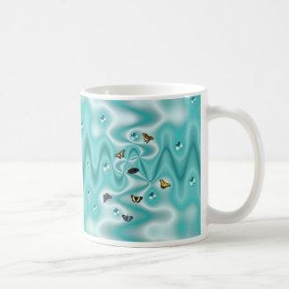 Butterfly on green Silk with Pearls Kaffee Tasse