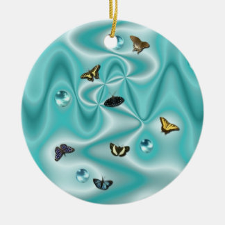 Butterfly on green Silk with Pearls Christmas Tree Ornament