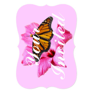 Butterfly on hibiscus 5x7 Invitation Bracket