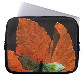 Butterfly on leaf 2 laptop sleeve