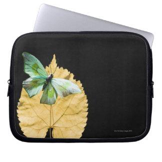 Butterfly on leaf laptop sleeve