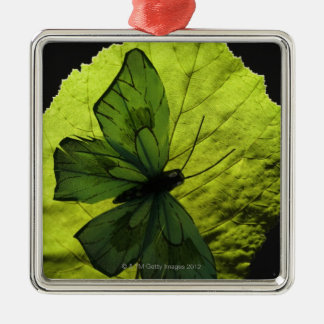 Butterfly on leaf metal ornament